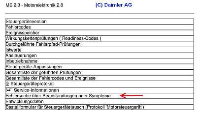 Diagnose ME-2.8.1 SL55AMG